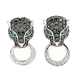 "EFFY ""Signature"" 14K White Gold Diamond & Emerald Panther Stud Earrings"