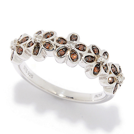 Diamond_Treasures® Sterling_Silver 0.17ctw_Fancy Color_&_White Diamond_Flower_Band_Ring