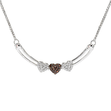 Diamond_Treasures® 0.26ctw_Diamond Sliding_Hearts Adjustable Necklace
