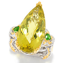 Gems en Vogue 13.95ctw Ouro Verde & Chrome Diopside Cocktail Ring