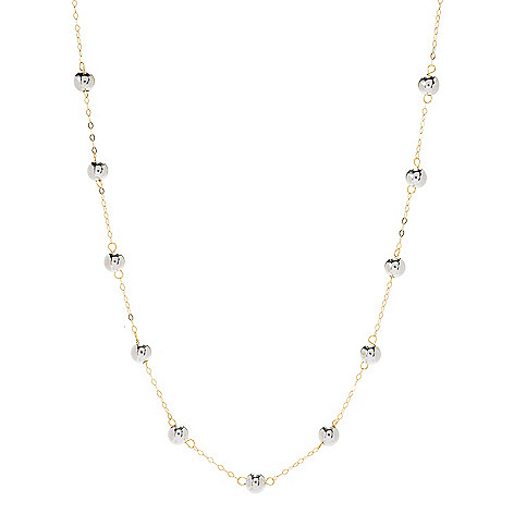 Viale18K® Italian_Gold_Tubing Polished_Bead Station_Necklace