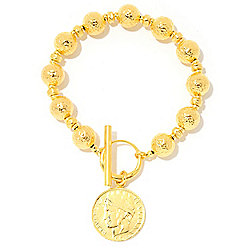 Toscana Italiana 18K Gold Embraced™ Genuine Lira Coin Acqua Bagnata Bead Toggle Bracelet