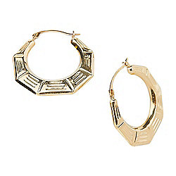 494b2850a Image of product 181-160. QUICKVIEW. Italian 14K Gold Semi-Solid Bamboo  Textured Hoop Earrings ...
