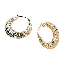 e998b391b Image of product 181-161. QUICKVIEW. Italian 14K Gold Semi-Solid Textured  Hoop Earrings ...