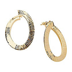 dff4fd769 Italian 14K Gold Semi-Solid Textured & Twisted Oval Hoop Earrings, 3 grams