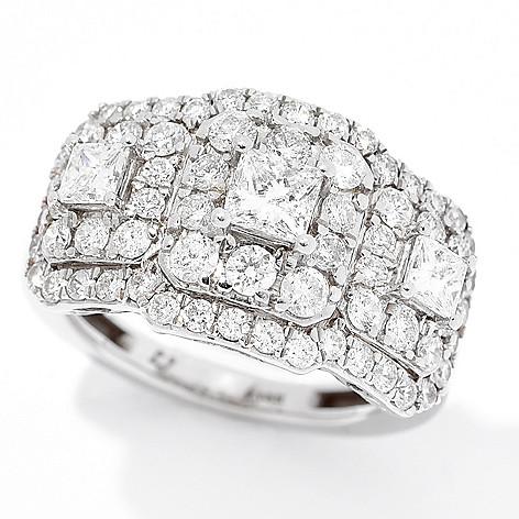 Diamond_Treasures® 14K_Gold_2.00ctw Square_&_Round Diamond_Ring