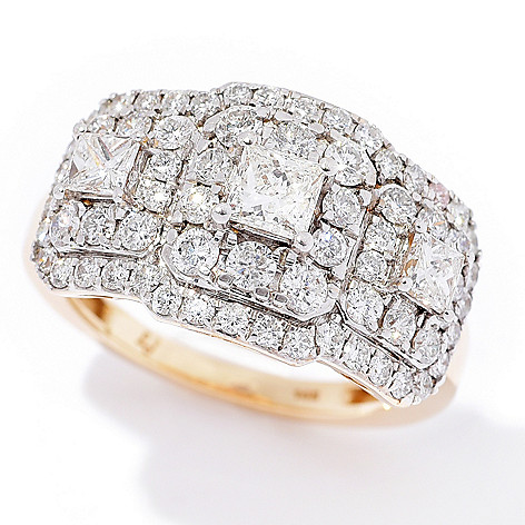 Diamond_Treasures® 14K_Gold_2.00ctw Square_&_Round Diamond_Ring