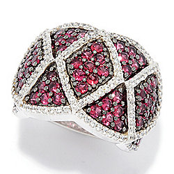 Rings - Gem Treasures® 3.06ctw Red Spinel & White Zircon Wide Band Ring - 181-171