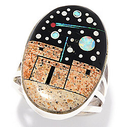 "Sunwest Silver Museum ""Pueblo Night Sky"" 24 x 16mm Oval Gem Doublet Inlay Ring"
