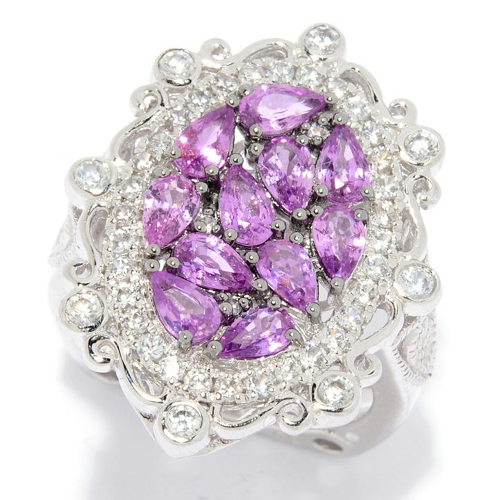Precious Gemstone Jewelry Get Your Sparkle On at ShopHQ | 181-213 Dallas Prince Sterling Silver 3.45ctw Purple Sapphire & White Zircon Ring