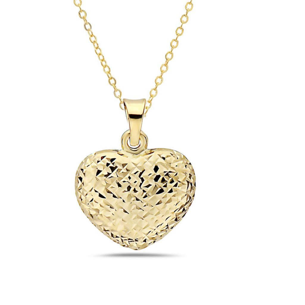 Italian 14K Gold Semi-Solid Heart Pendant  with Chain - 181-221