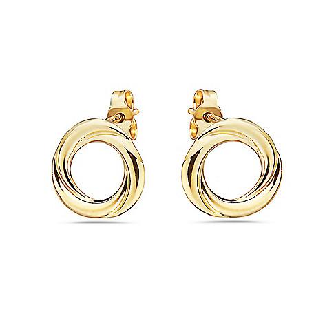 a7a06d861 181-222- Italian 14K Gold Semi-Solid Circle Stud Earrings