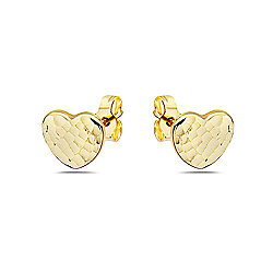 0fcf0bff5 Image of product 181-230. QUICKVIEW. Italian 14K Gold Semi Solid Hammered  Style Textured Heart Stud Earrings