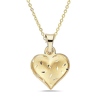7b3a93dbf 181-234- Italian 14K Gold Semi Solid Diamond Cut Heart Pendant w/ 18