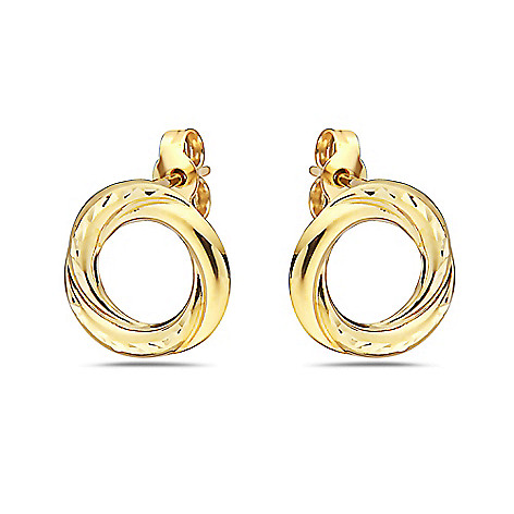 c8d780c04 181-236- Italian 14K Gold Choice of Color Semi Solid Textured Circle Stud  Earrings