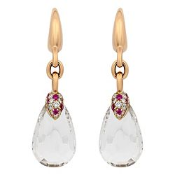 Over 50% OFF 181-284 Pomellato Pin Up 18K Rose Gold 1.75 12.43ctw Quartz, Diamond & Ruby Drop Earrings - Pre-Owned - 181-284