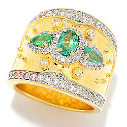 Dallas Prince 1.76ctw Emerald & White Zircon Etruscan Band Ring