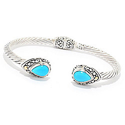 Turquoise - Artisan Silver by Samuel B.18K Gold Accented Sleeping Beauty Turquoise Hinged Cuff Bracelet - 181-317