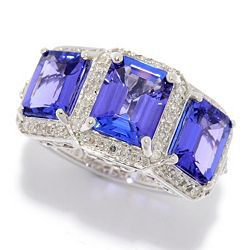 Gem Treasures 181-499 Gem Treasures® 18K White Gold 5.34ctw Step Cut AAA Tanzanite & Diamond Ltd Ed 3-Stone Band Ring - 181-499