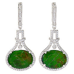"Victoria Wieck Collection 1.5"" Ammolite Triplet & White Zircon Drop Earrings"