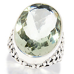 Nicky Butler Sterling Silver 16.90ctw Oval Checkerboard Cut Prasiolite Ring