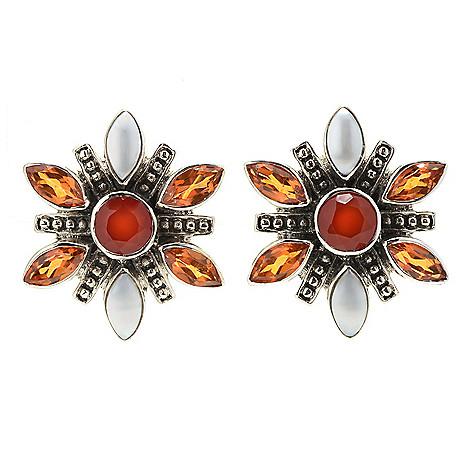 869e37d7b 181-557- Nicky Butler Sterling Silver Multi Gemstone Flower Stud Earrings