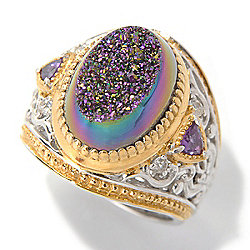 Gems en Vogue Final Cut 14 x 10mm Drusy, Amethyst & White Sapphire Ring