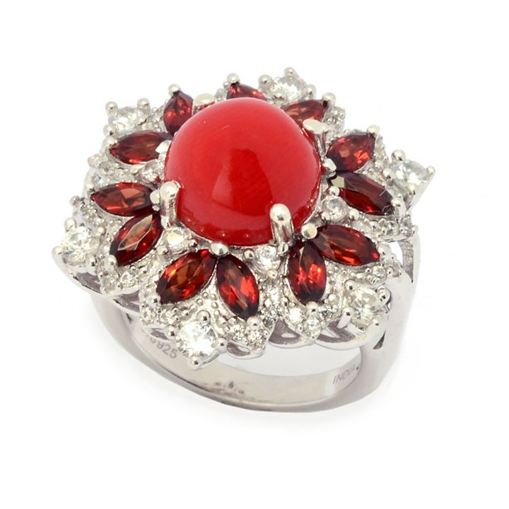 New Items Added Daily at Lowest Prices Ever at ShopHQ | 181-668 Gem Treasures® 10mm Mediterranean Coral, Garnet & White Zircon Ring