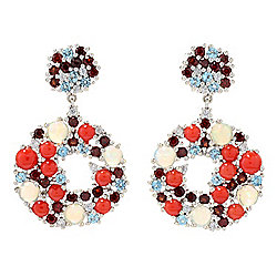 "Gem Treasures® 1.25"" Mediterranean Red Coral & Multi Gem Drop Earrings"