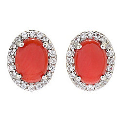 Gem Treasures® Oval Mediterranean Red Coral & White Zircon Stud Earrings