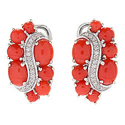 Gem Treasures® Mediterranean Red Coral & White Zircon Stud Earrings