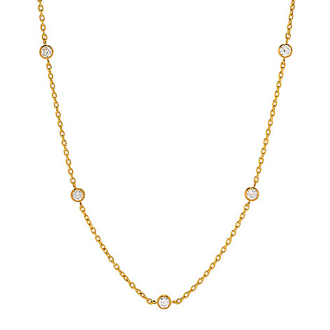 """Cevherun 24K_Gold 18""""_Round Gemstone Station_Necklace"""