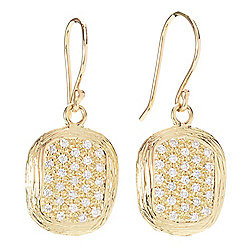 "Golden Odyssey 14K Gold 1.25"" 0.55ctw Diamond Pave Drop Earrings"