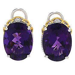 Gems en Vogue 16.05ctw Namibian Amethyst & Diamond Stud Earrings w/ Omega Backs