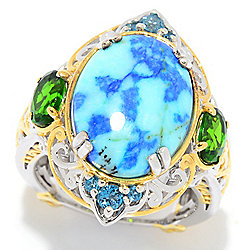 Gems en Vogue 16 x 12mm Barite, London Blue Topaz & Chrome Diopside North-South Ring