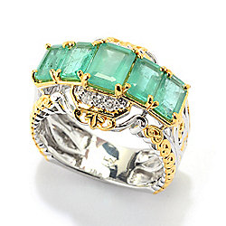 181-827 Gems en Vogue Michael's Holiday 3.35ctw Zambian Emerald & Diamond Ring - 181-827