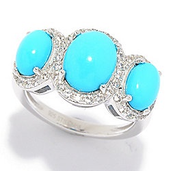 4f99d3af8 Gem Treasures® Sleeping Beauty Turquoise 3-Stone Band Ring