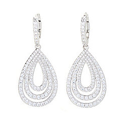 "Victoria Wieck for Brilliante® 1.75"" 2.47 DEW Simulated Diamond Pear Drop Earrings"