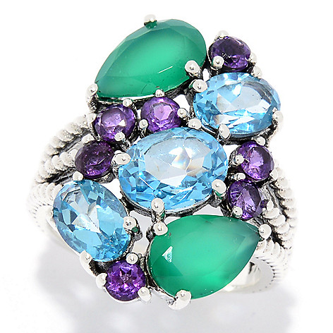 b6691abf733e Nicky Butler Sterling Silver Multi Gemstone Cluster Split Shank Ring - EVINE