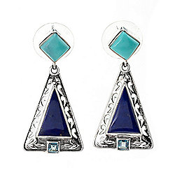 "Nicky Butler Sterling Silver 1"" Lapis Lazuli, Turquoise & Blue Topaz Earrings"