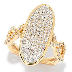 Beverly Hills Elegance® 14K Gold 1.09ctw Diamond Elongated Oval Openwork Ring
