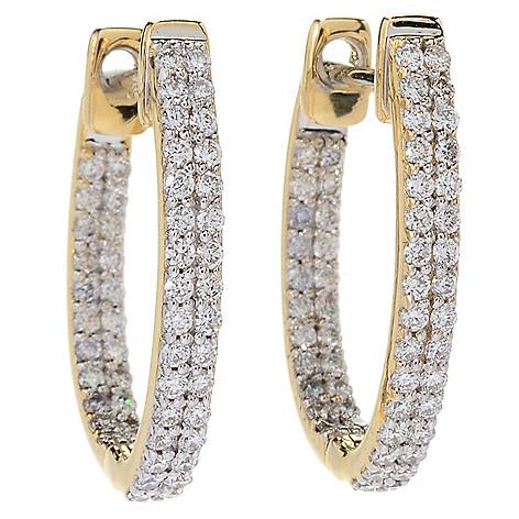 6c3ea4687 Beverly Hills Elegance® 14K Gold 0.75ctw Diamond Inside-out Huggie ...