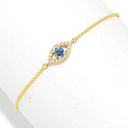 "Beverly Hills Elegance® 14K Gold 7.5"" Diamond & Sapphire Evil Eye Bracelet"