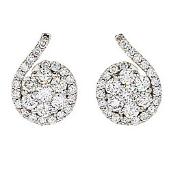 Beverly Hills Elegance® 14K White Gold 2.40ctw Diamond Flower Cluster Stud Earrings