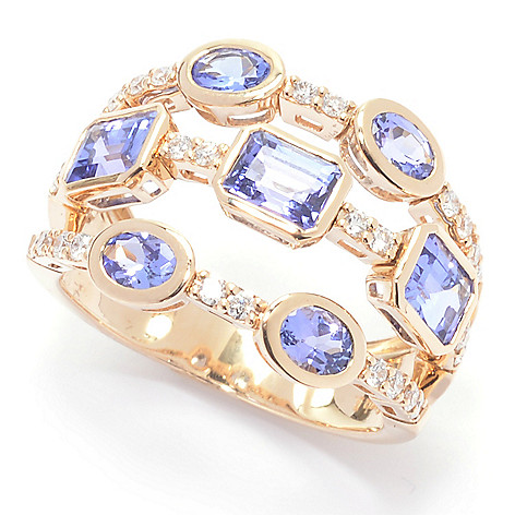 Sonia_Bitton Galerie_de_Bijoux&trade 14K_Gold_259ctw Tanzanite_& Diamond_Flex_Ring