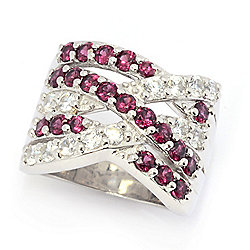 Gem Treasures® Gemstone & White Zircon Highway Band Ring