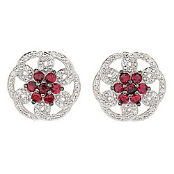Gem Treasures® 1.21ctw Red Spinel & White Zircon Stud Earrings