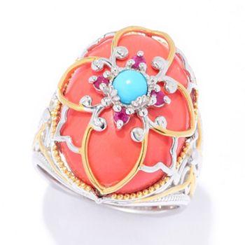 Gems of the Sea 182-226 Gems en Vogue 20 x 15mm Coral, Sleeping Beauty Turquoise & Gemstone Ring - 182-226