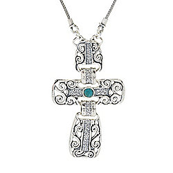 "Passage to Israel™ Sterling Silver 18"" Turquoise Cross Necklace w/ 3"" Extender"