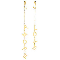 "Stefano Oro ""Love"" 14K Gold 4"" Mismatch Drop Earrings, 1.8 grams"